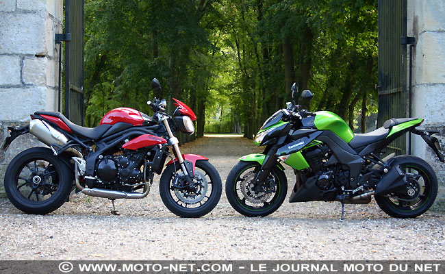 comparatif kawasaki z1000 vs triumph speed triple 2011. Black Bedroom Furniture Sets. Home Design Ideas